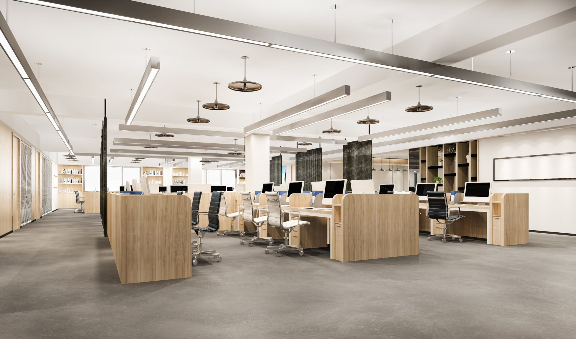 rendering of office space light and wood theme
