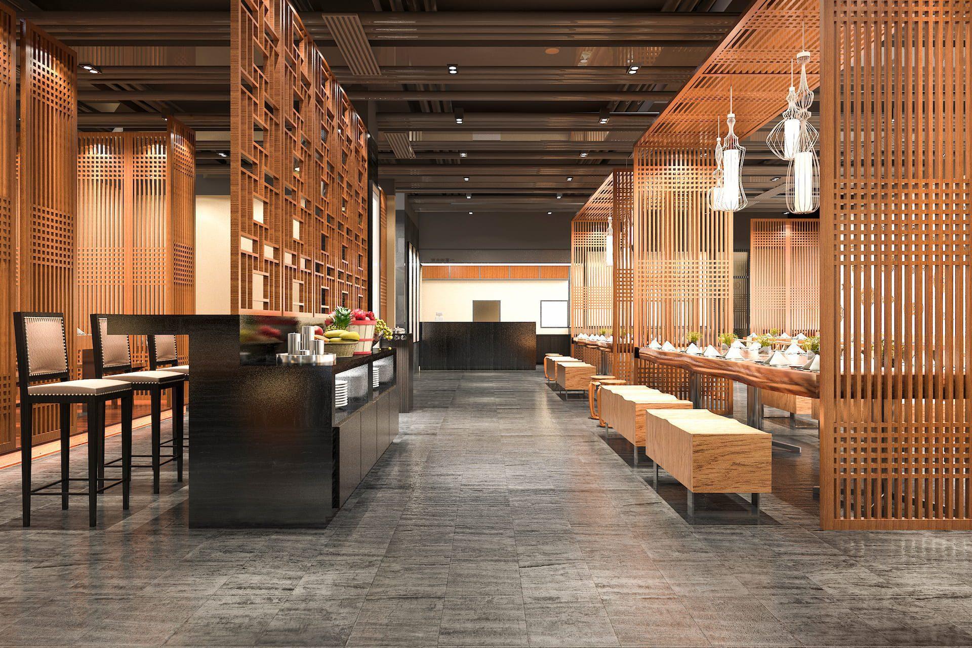 3D rendering of wooden restaurant interior