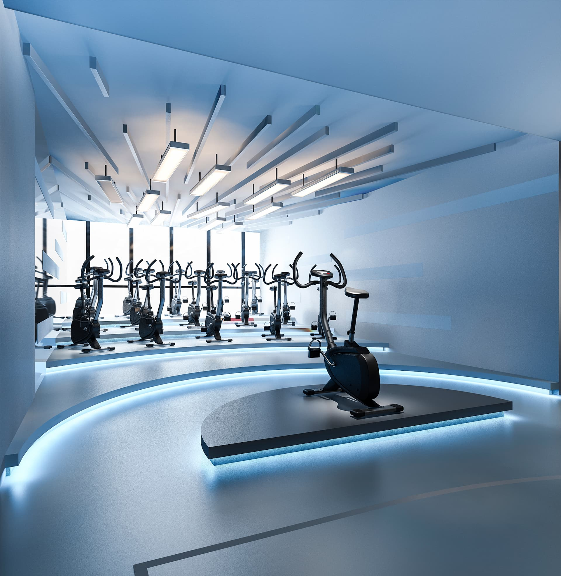 rendering of gym cycling room
