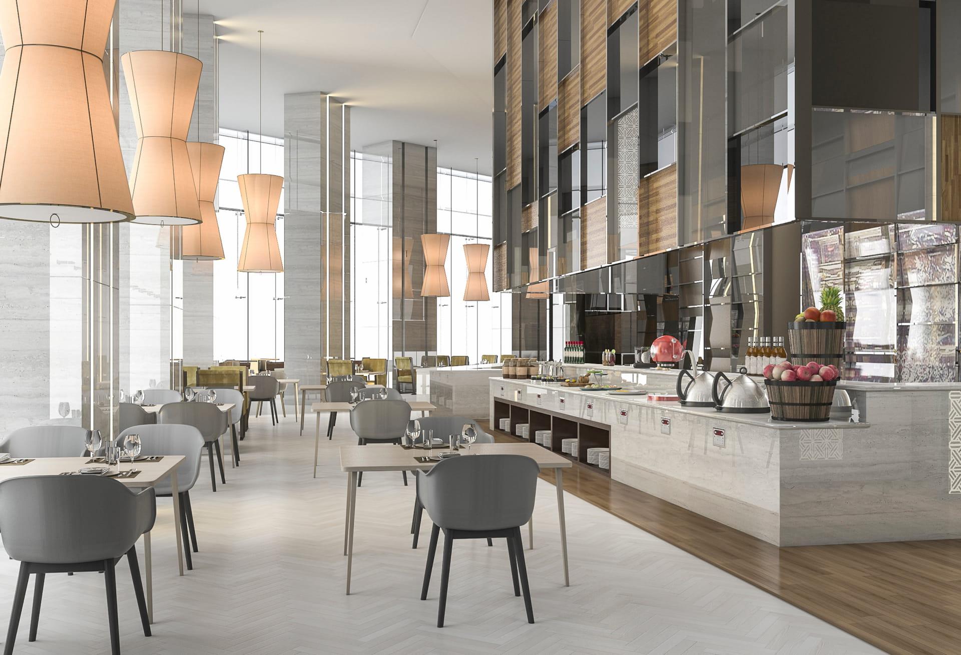 rendering of restaurant grey palette