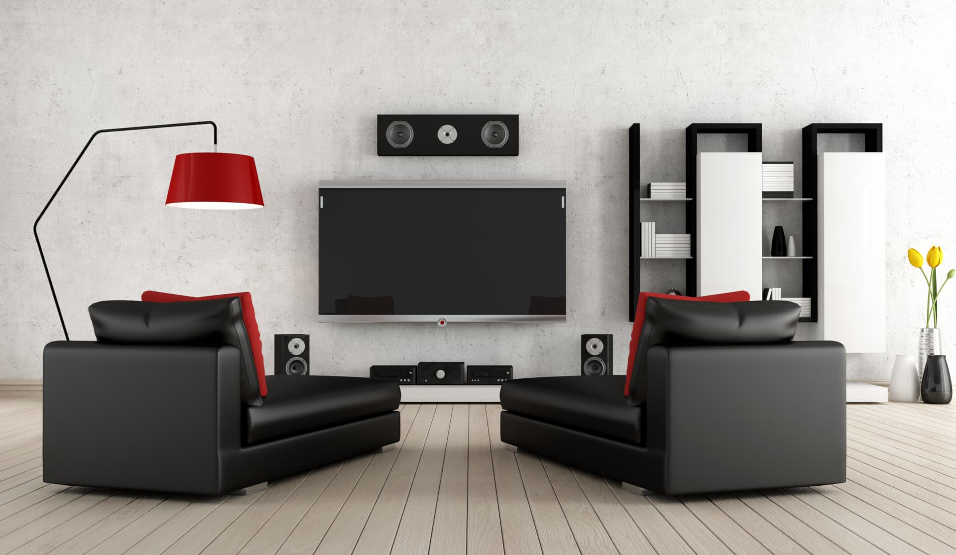 home cinema design in red and black
