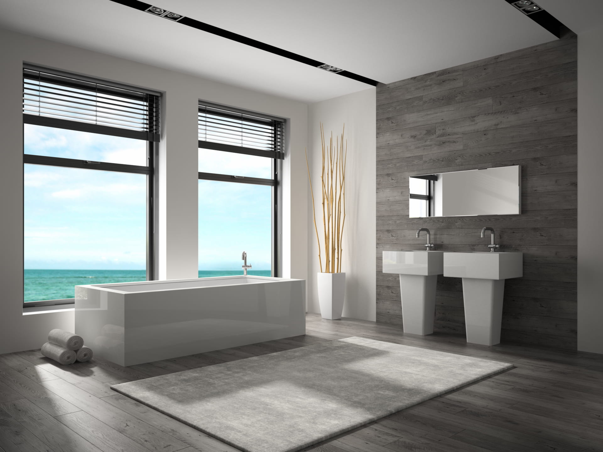 3D rendering of bathroom with sea view