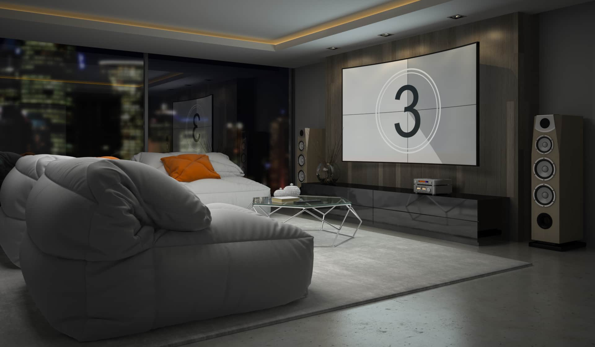 rendering of home theater